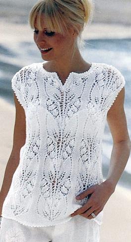 Схема вязания белого ажурного
