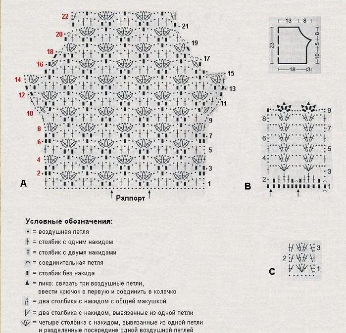 схема ажурного топа крючком