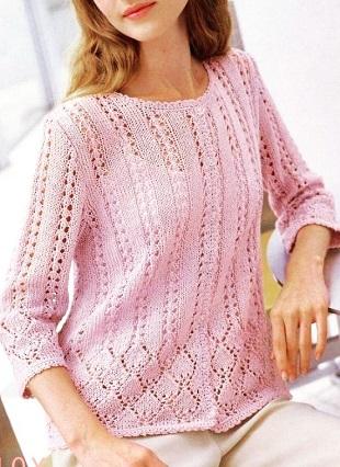 Вязание розового жакета спицами