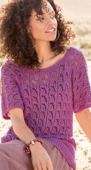Фиолетовый джемпер спицами