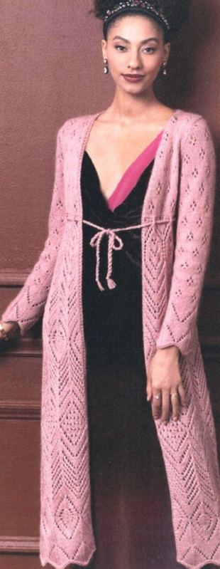 Вязание розового кардигана спицами
