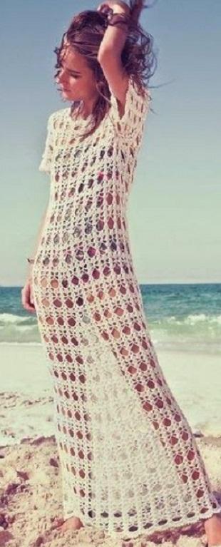 Длинное пляжное платье крючком