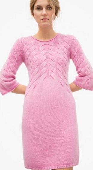 Платье с узором Косы спицами