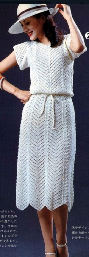 Вязание белого платья крючком