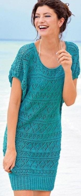 Пляжное платье спицами 2022