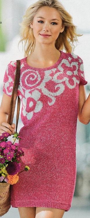 Вязание короткого платья спицами