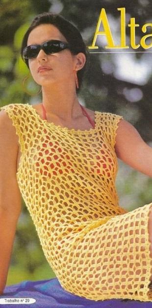 Вязание пляжного платья крючком