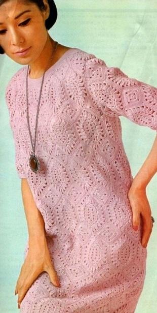 Вязание розового платья крючком