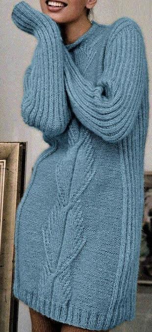 Теплое платье спицами 2021