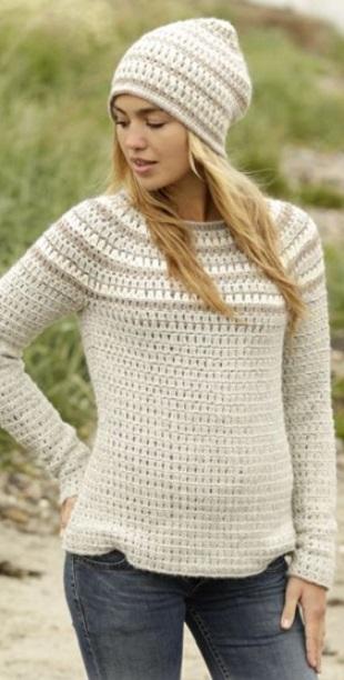 Вязание свитера с кокеткой крючком
