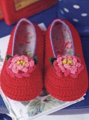 Zapatillas con gancho flor